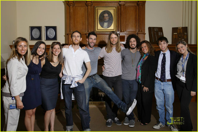 David Silberstein with Members of Maroon 5 at a Get Well Soon Tour event in John Hopkins Hospital